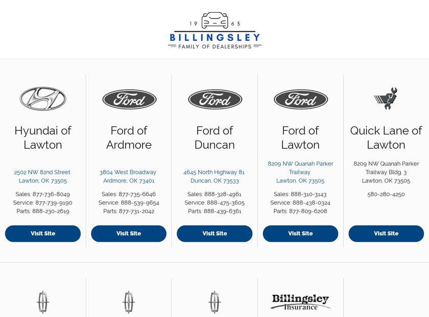 Billingsley Ford Lincoln Hyundai homepage screenshot