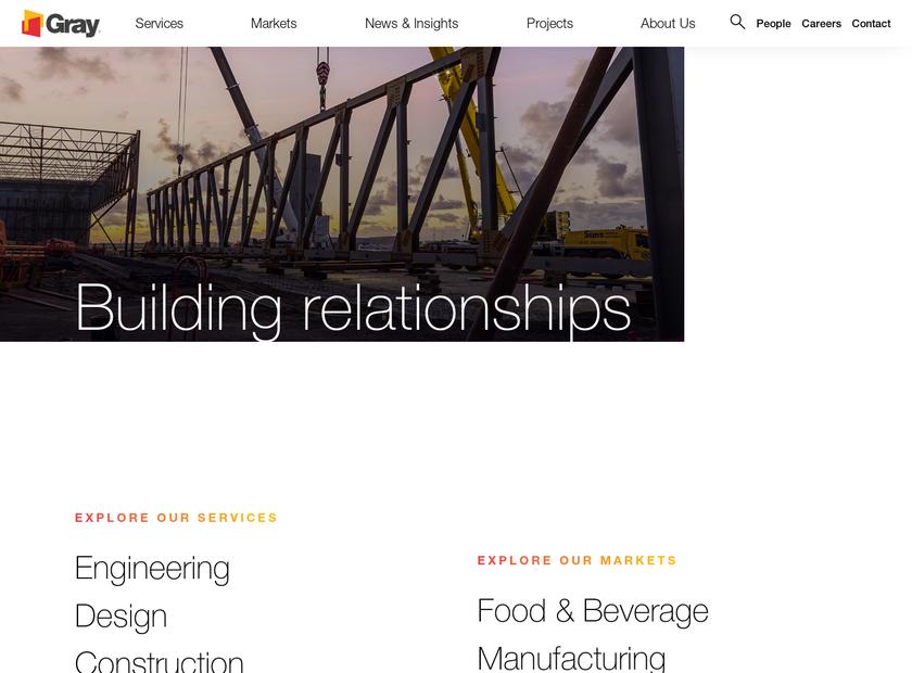 Gray Construction homepage screenshot