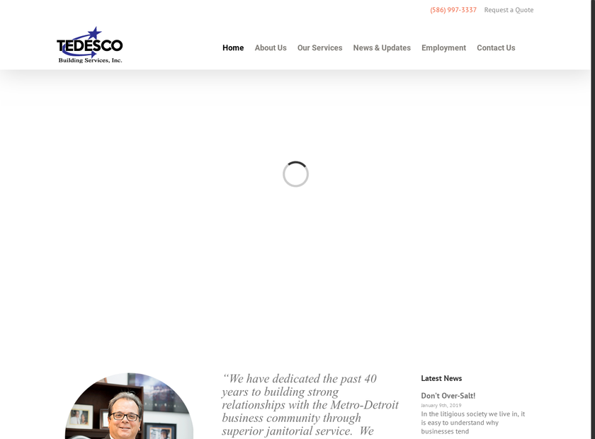 Tedesco Building Services Inc homepage screenshot