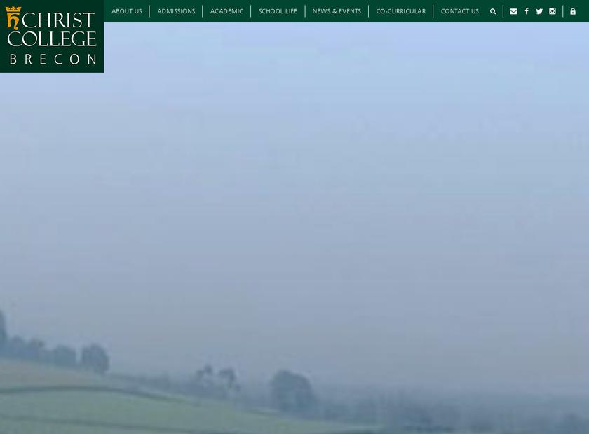 Christ College Brecon homepage screenshot