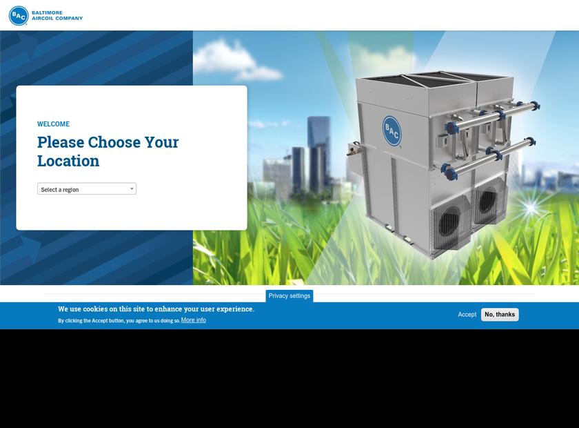 Baltimore Aircoil Company homepage screenshot