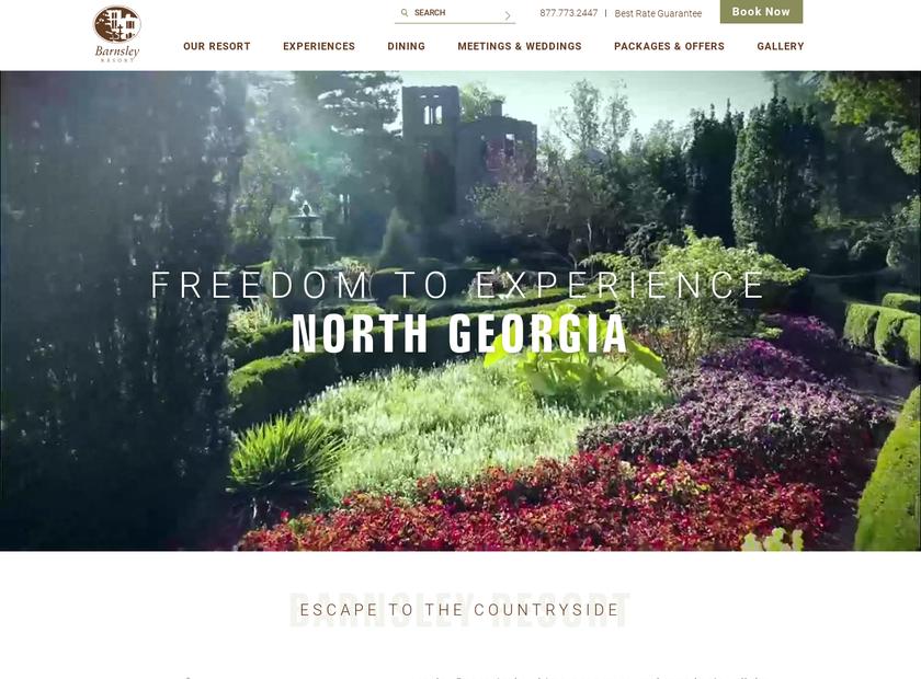Barnsley Gardens Resort homepage screenshot