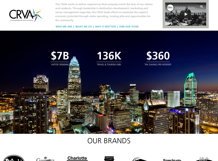 Charlotte Regional Visitors Authority homepage screenshot