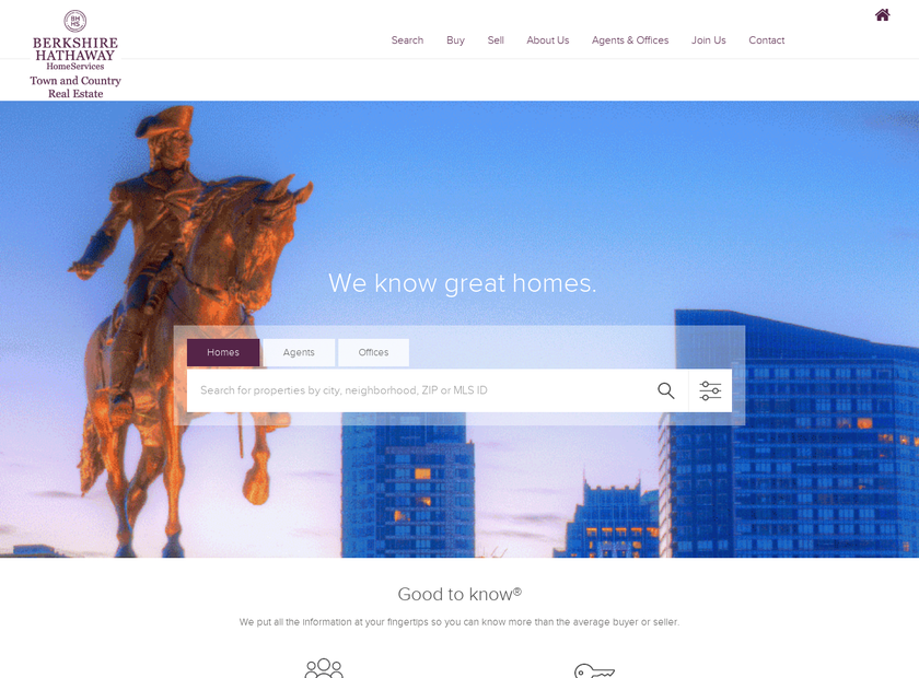 Berkshire Hathaway HomeServices Town and Country Real Estate homepage screenshot