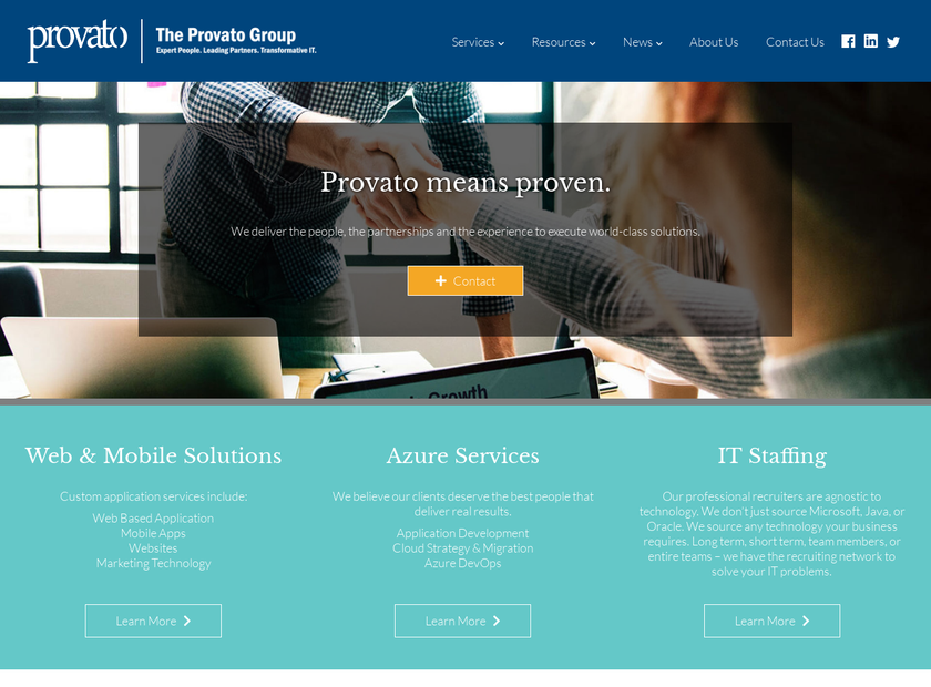 The Provato Group homepage screenshot