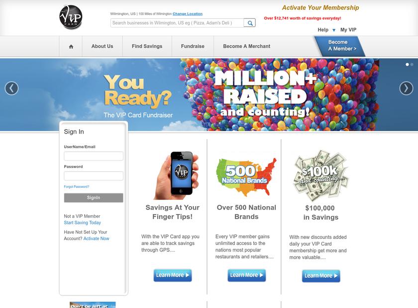 The VIP Card Inc homepage screenshot