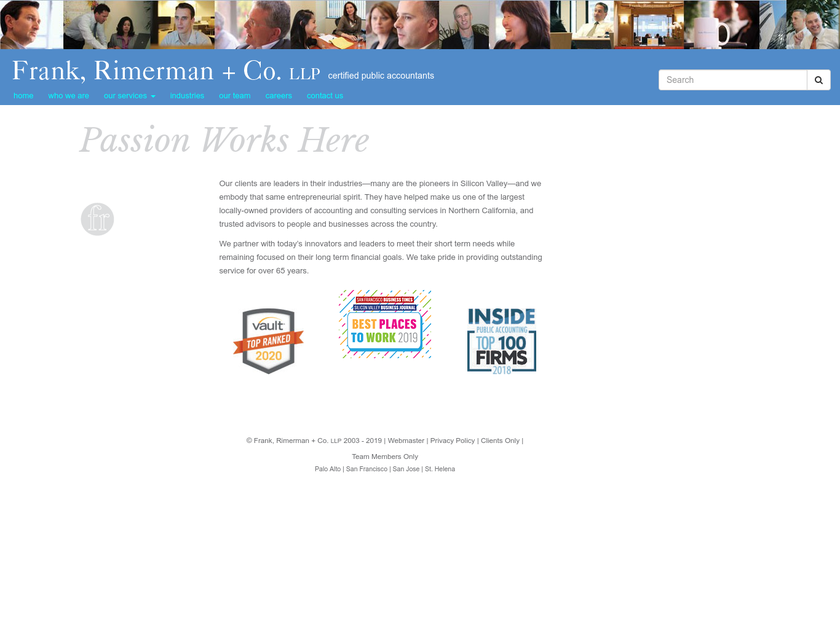 Frank Rimerman & Company homepage screenshot