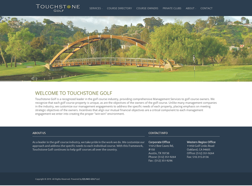 Touchstone Golf LLC. homepage screenshot