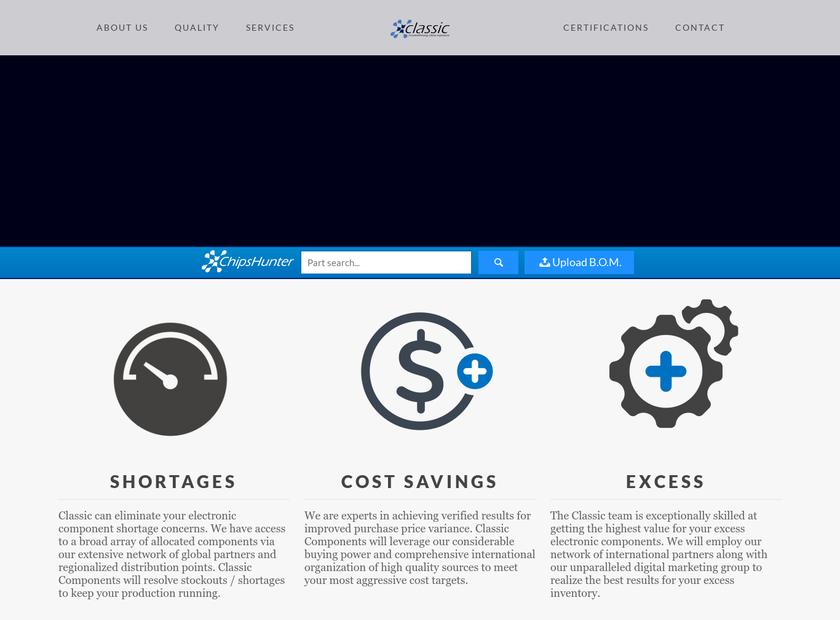 Classic Components Corporation homepage screenshot