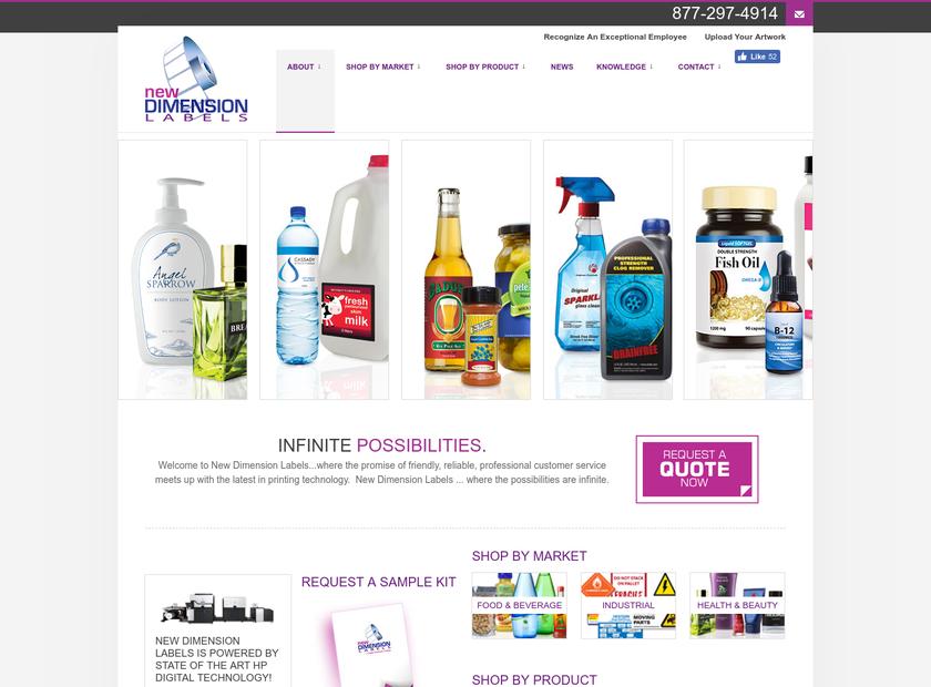 New Dimension Labels homepage screenshot
