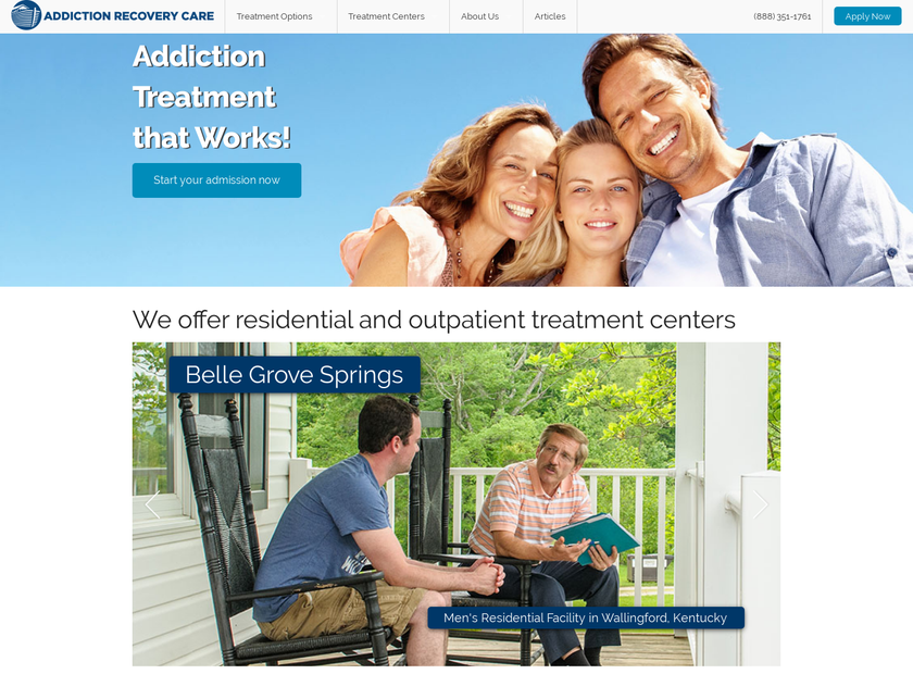 Addiction Recovery Care homepage screenshot