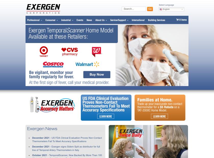 Exergen Corporation homepage screenshot