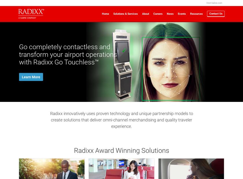 Radixx International Inc homepage screenshot
