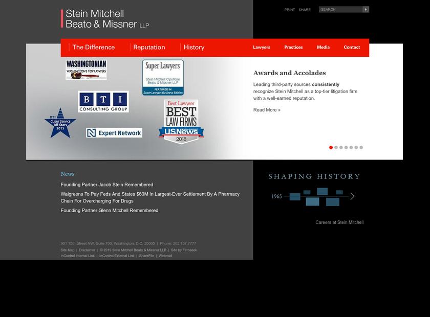 Stein Mitchell & Mezines LLP homepage screenshot