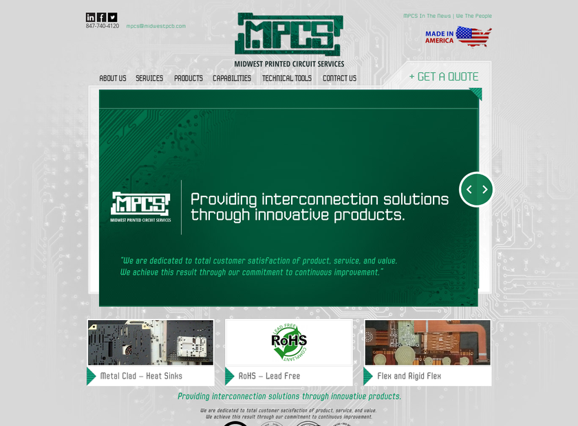 Midwest Printed Circuit Services Inc homepage screenshot