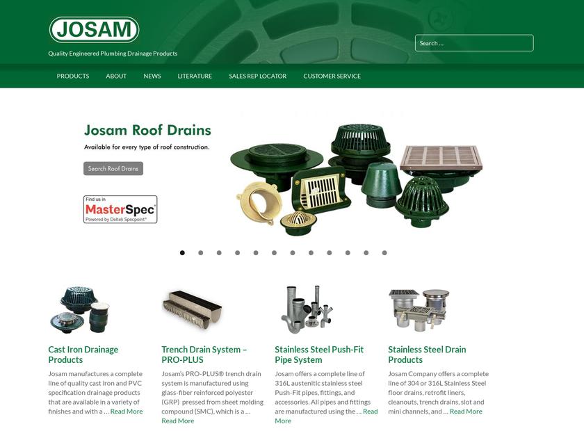 Josam Company homepage screenshot