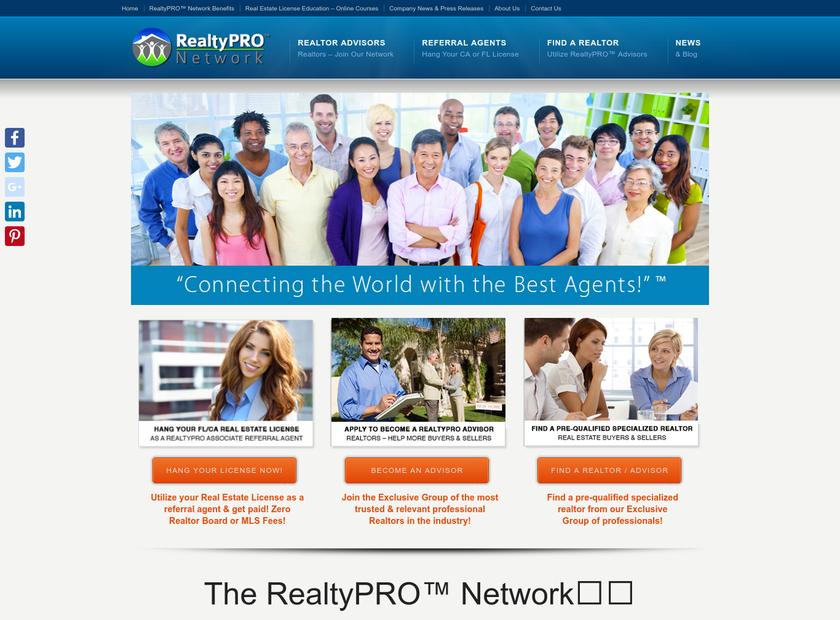 RealtyPRO™ Network, LLC homepage screenshot