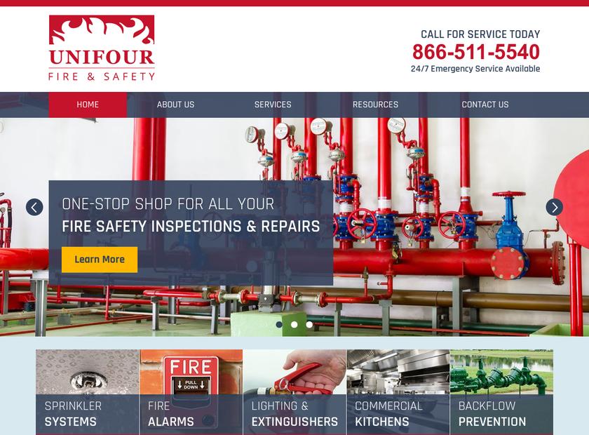 Unifour Fire & Safety homepage screenshot