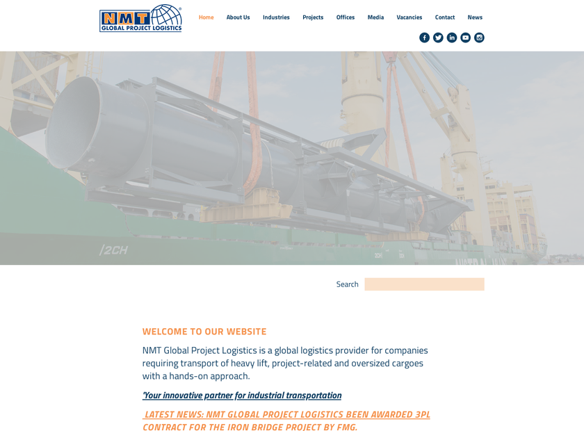 NMT Projects homepage screenshot