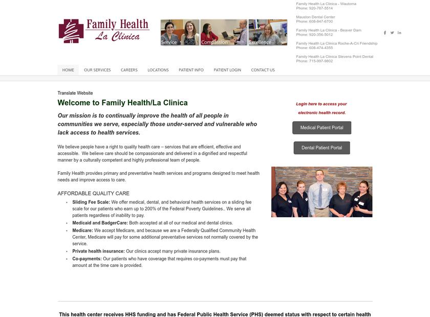 Family Health Center of Marshfield , Inc. homepage screenshot