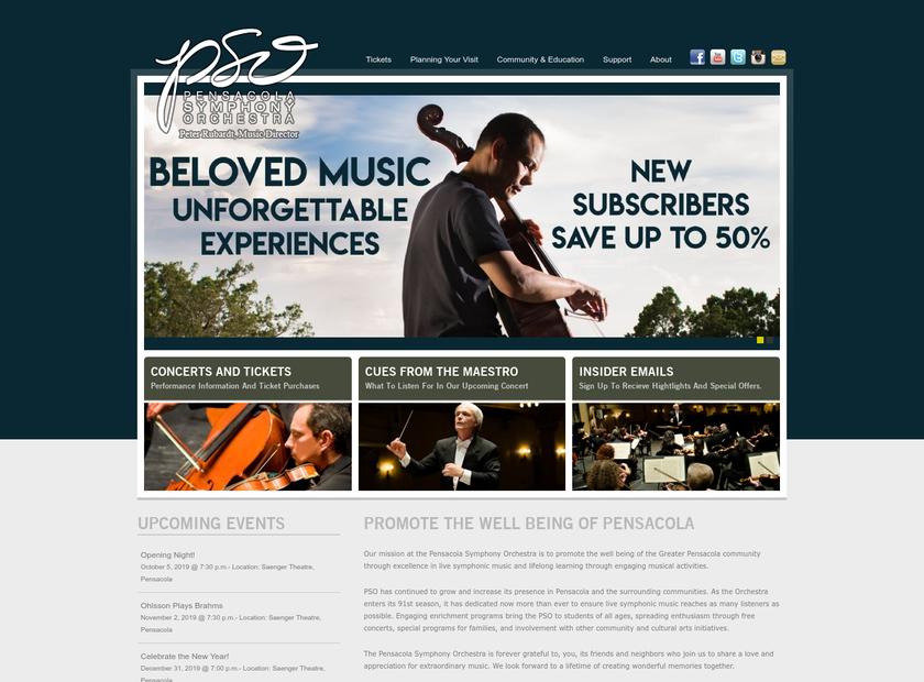 Pensacola Symphony Orchestra homepage screenshot