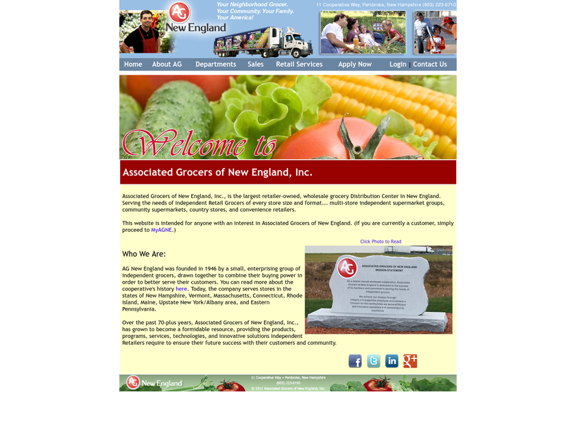 Associated Grocers of New England Inc homepage screenshot