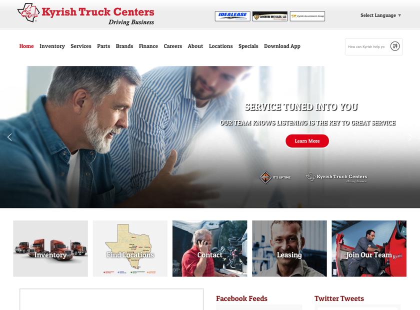 Kyrish Truck Centers homepage screenshot