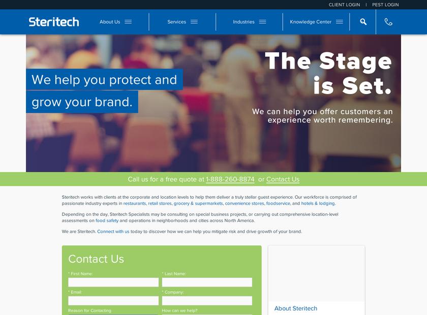 The Steritech Group Inc homepage screenshot