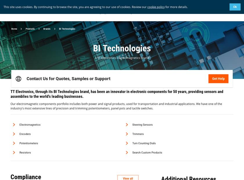 BI Technologies Inc homepage screenshot