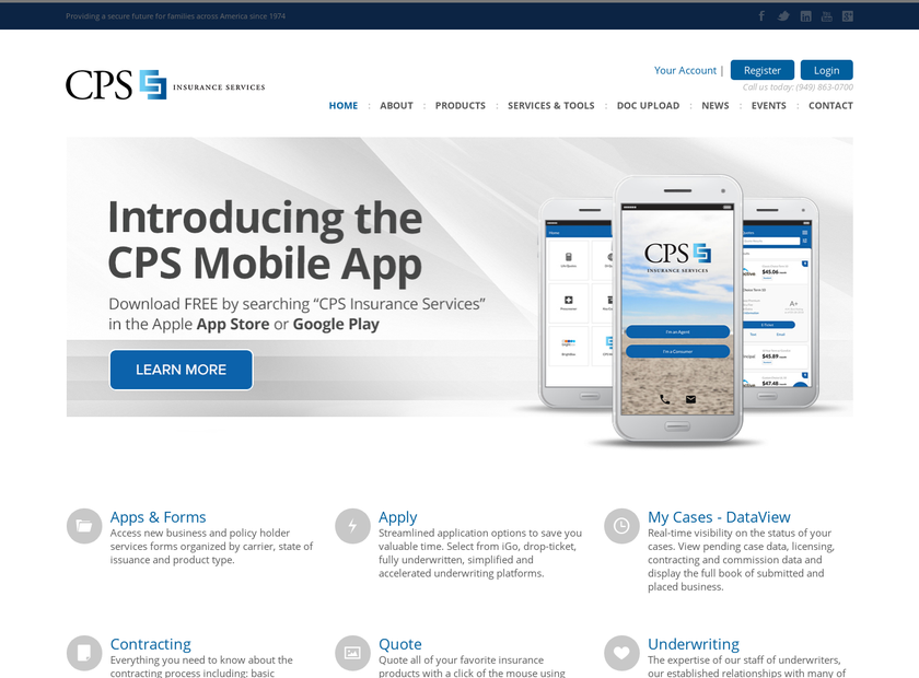 CPS Insurance Services Inc homepage screenshot
