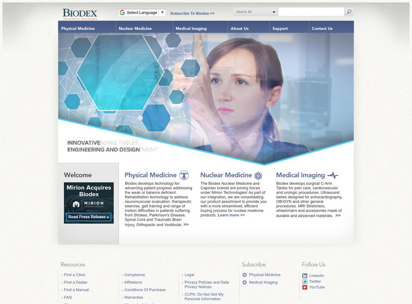 Biodex Medical Systems Inc homepage screenshot