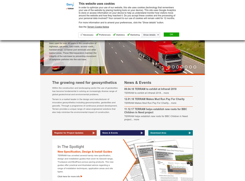 Terram Ltd homepage screenshot
