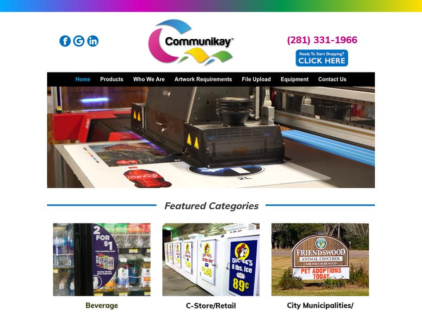 Communikay Graphics homepage screenshot