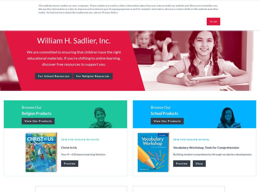 William H. Sadlier Inc homepage screenshot