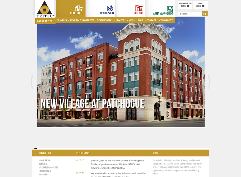 TRITEC Real Estate Company Inc homepage screenshot