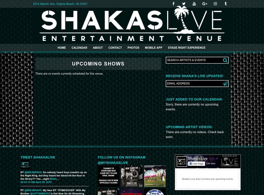 SHAKA'S LIVE homepage screenshot