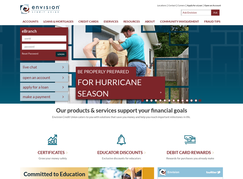Envision Credit Union homepage screenshot
