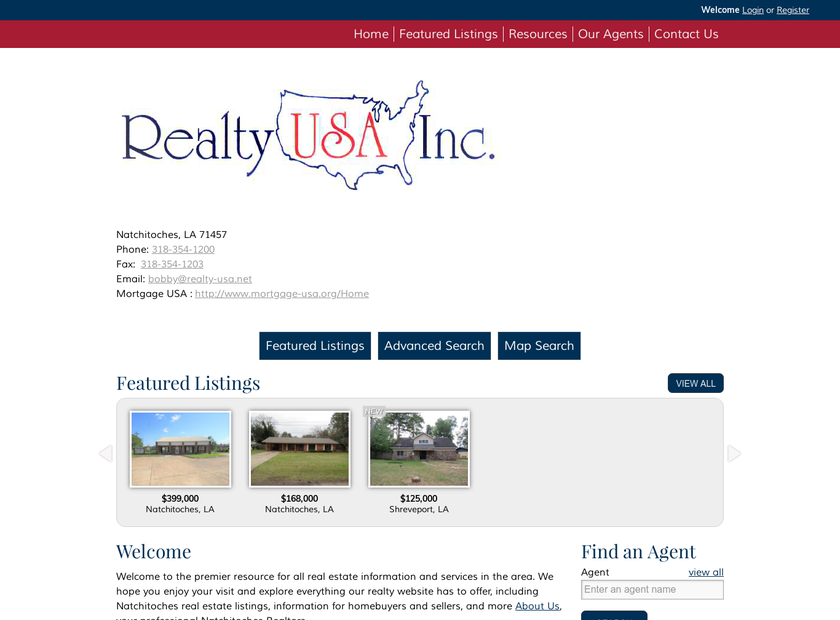 Realty USA Inc homepage screenshot