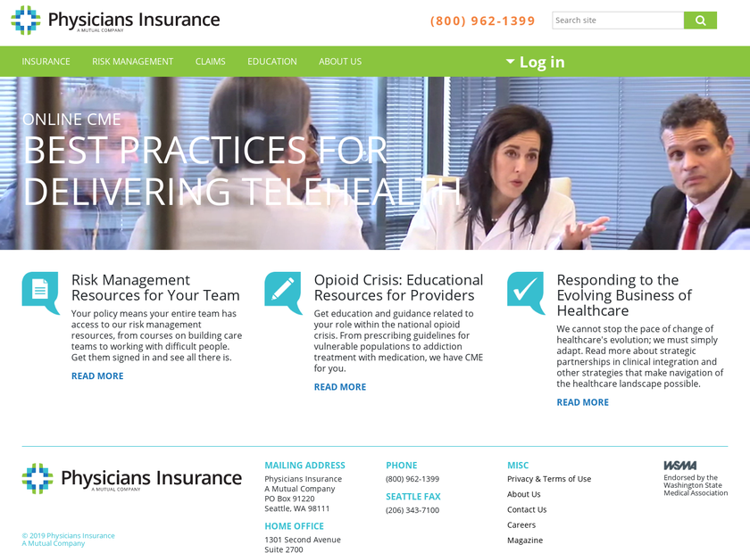 Physicians Insurance Agency homepage screenshot