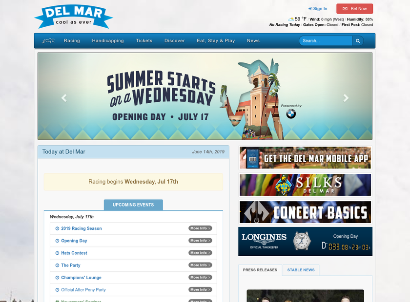 Del Mar Thoroughbred Club homepage screenshot