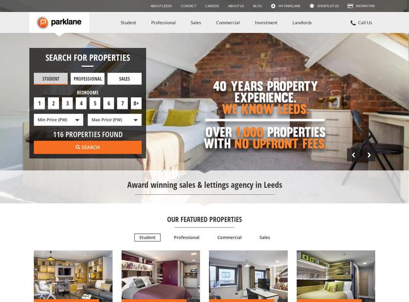 Parklane Properties Ltd homepage screenshot
