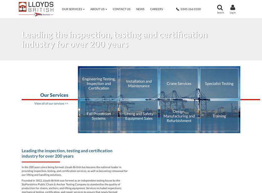 Lloyds British Testing Ltd homepage screenshot