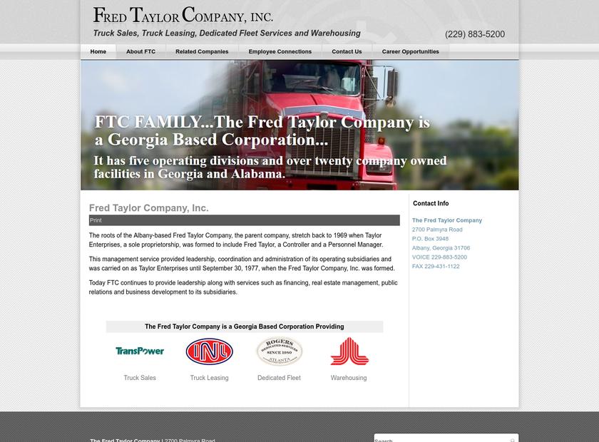 Fred Taylor Company Inc homepage screenshot