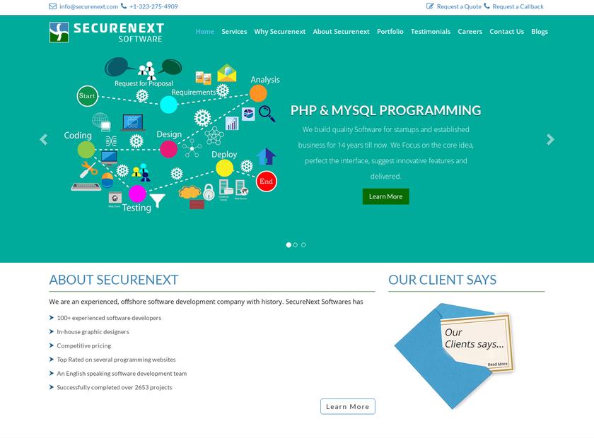 Securenext homepage screenshot