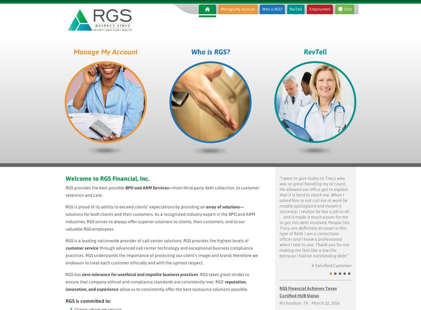 RGS Financial Inc homepage screenshot