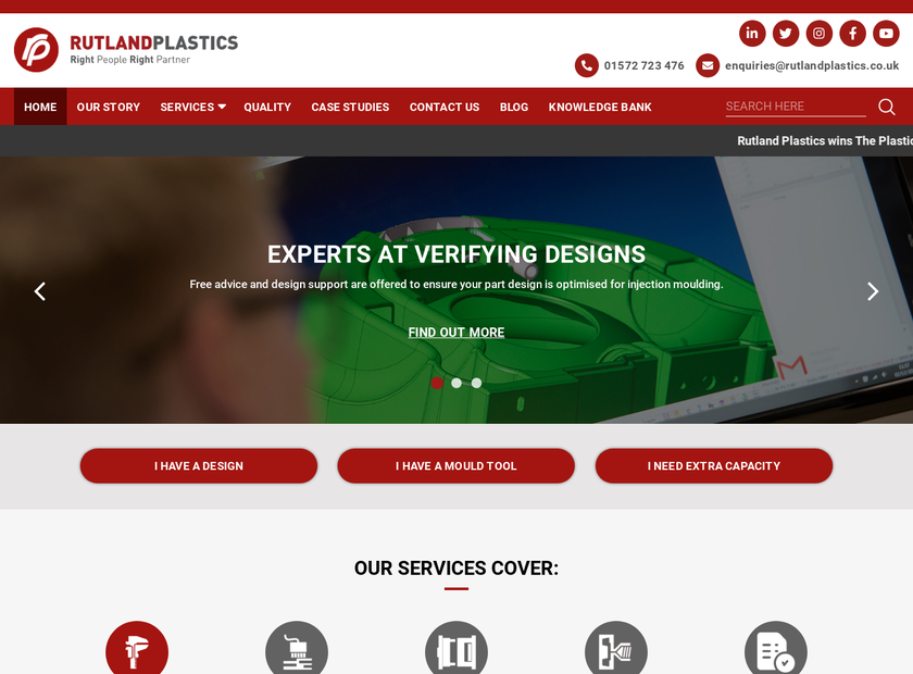 Rutland Plastics Ltd homepage screenshot