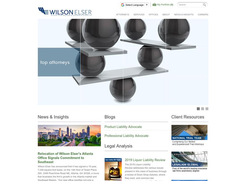 Wilson Elser Moskowitz Edelman & Dicker LLP homepage screenshot