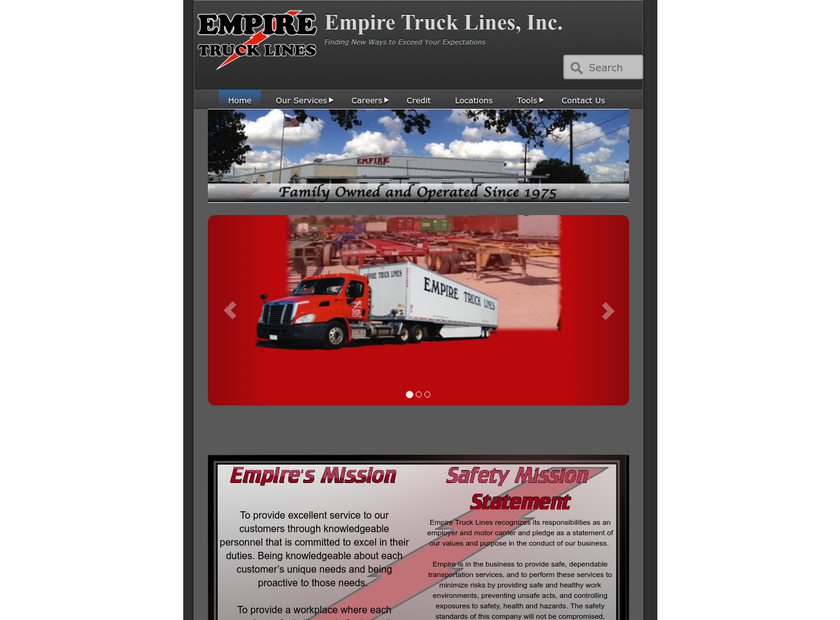 Empire Truck Lines Inc homepage screenshot