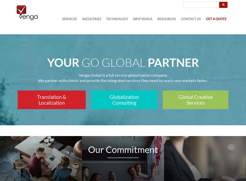 The Venga Corp homepage screenshot