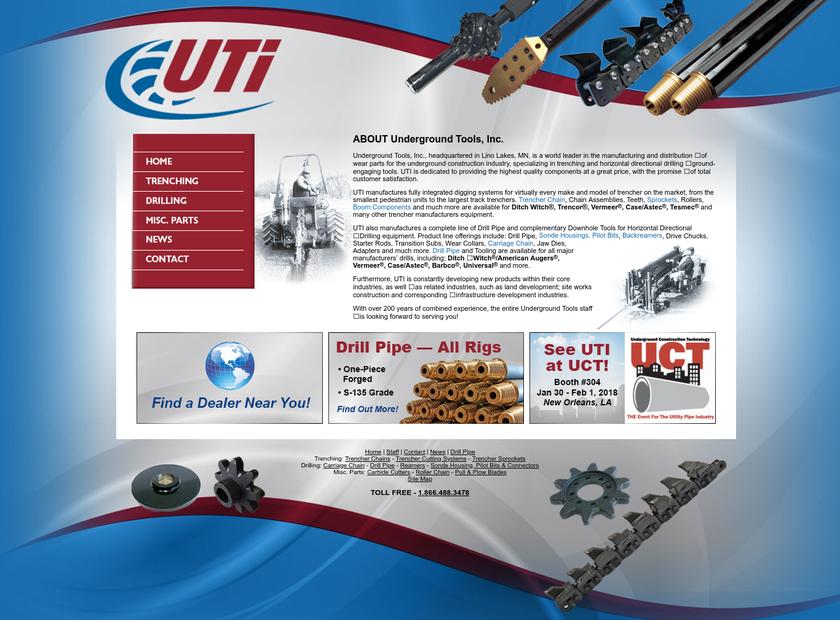 Underground Tools Inc homepage screenshot